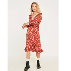 Free People Covent Garden Midi Dress in Red Combo